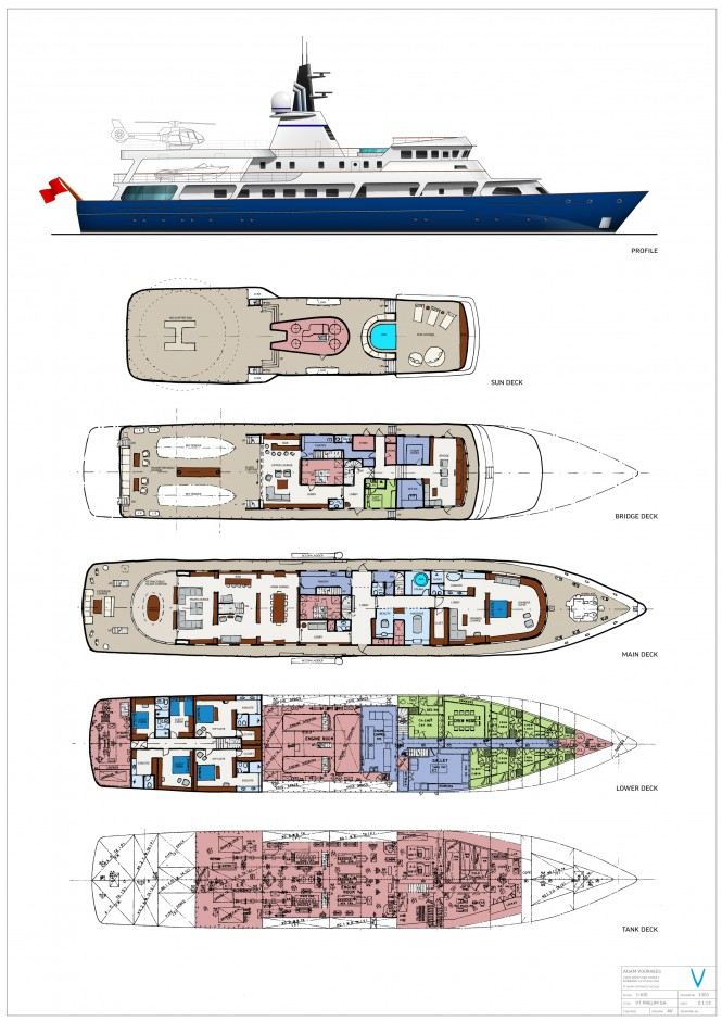 Conversion proposal for 65m luxury yacht Van Triumph - Layout