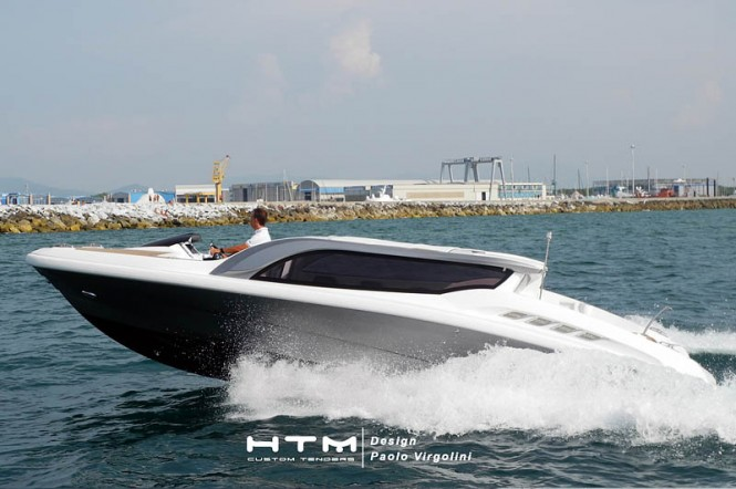 High Tech Marine 825 Limo yacht tender to superyacht Stella Maris at full speed