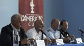 from left) � Regatta Director Iain Murray, ACEA CEO Stephen Barclay, Captain Matt Bliven, US Coast Guard Sector San Francisco, and Captain Thomas Cleary, San Francisco Police Department, address the media at a press conference on May 10, 2013, in San Francisco.