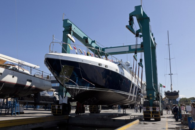 Launch of superyacht Mangusta 94#01