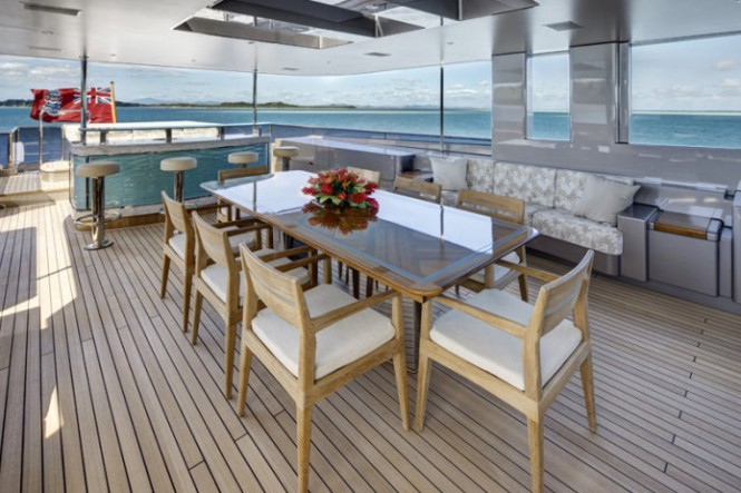 Luxurious exterior aboard motor yacht Loretta Anne