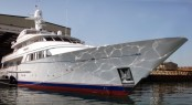 Luxury charter yacht Teleost leaving Pendennis' dry dock to undergo sea trials