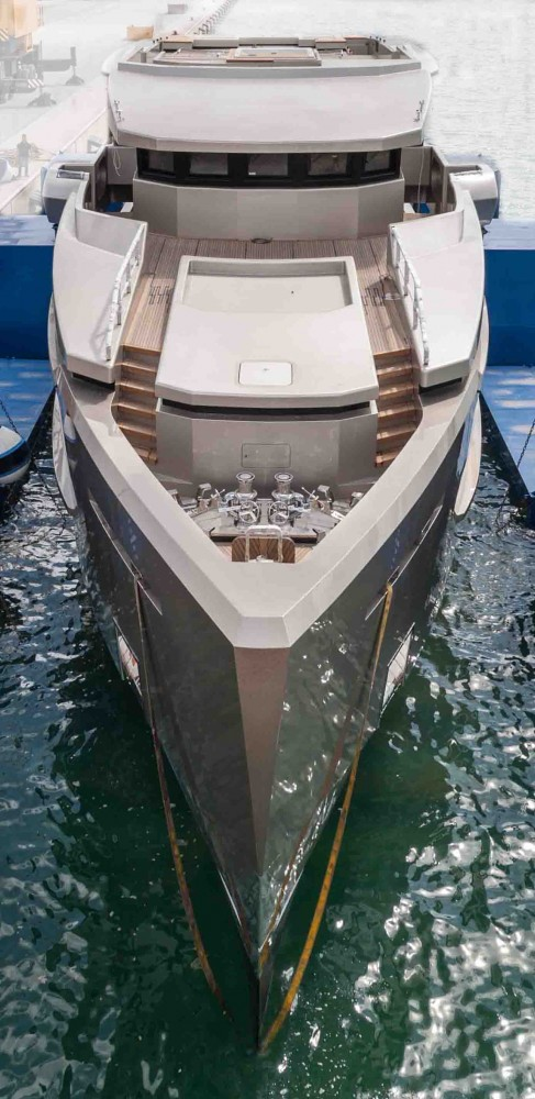 Luxury motor yacht Cacos V on the water