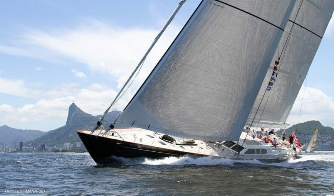 Luxury sailing yacht Pink Gin sailing off Rio with Corcavado as the beautiful backdrop - Photo credit to Fred Hoffmann