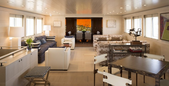 Luxury yacht A2 - main salon Photo credit to Paul Warchol