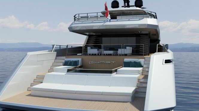 Luxury yacht Ghost G180F - aft view