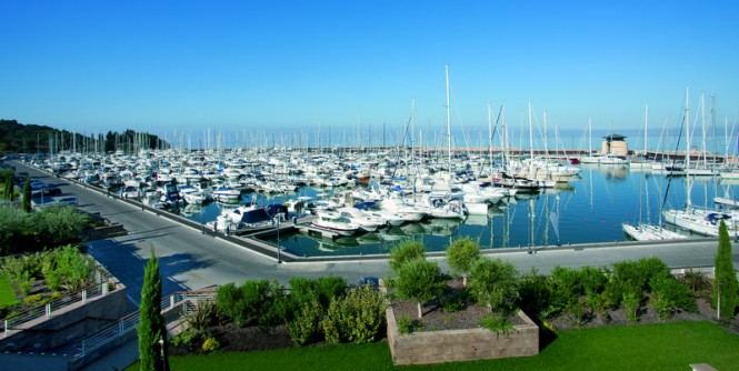 Luxury yachts anchored at Marina di Scarlino