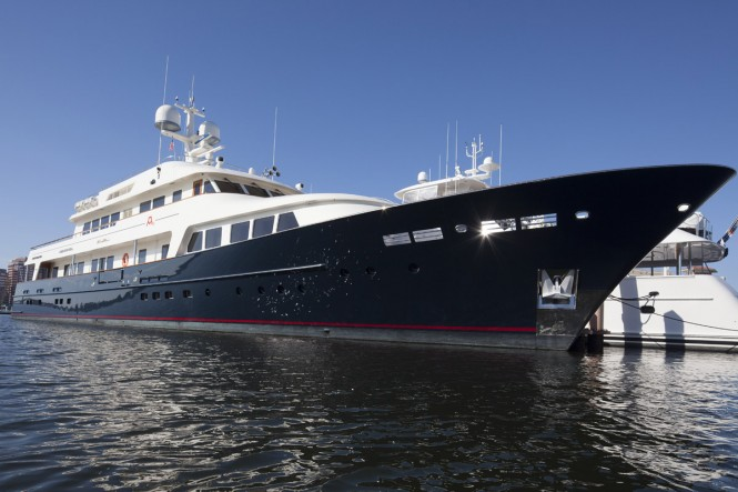 Motor yacht A2 (ex Masquerade of Sole) after refit at Pendennis - Photo by Paul Warchol
