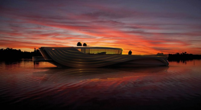 Motor yacht Cronos concept - after sunset
