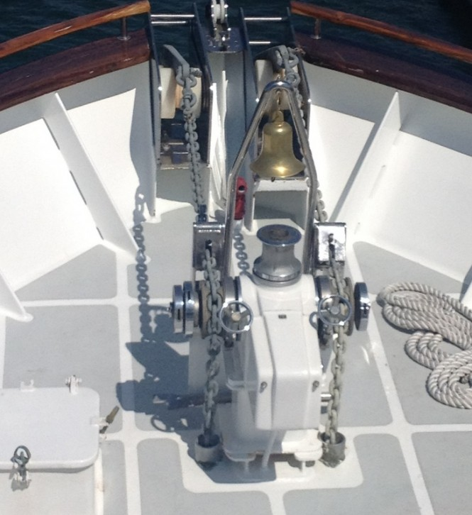 Original Horizontal Windlass Installation on a 120ft Yacht before refit - Photo courtesy of Maxwell Marine