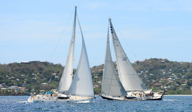 Oyster 82 sailing yacht Starry Night, Class 1 winner and Oyster 575 Dreamer yacht, Class 2 winner and overall winner both Classes, enjoy Oyster's 31st Regatta in Grenada