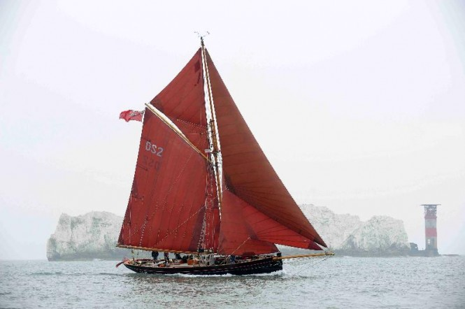 Celebrating her centenary, the winner of the first Fastnet Race in 1925, Pilot Cutter, Jolie Brise now sailed by pupils from Dauntsey's School in Wiltshire. Credit: Rick Tomlinson