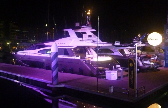 Riva 75' Venere Super Yacht at the Singapore Yacht Show 2013 by night