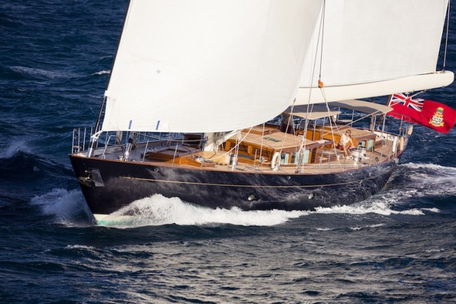 Royal Huisman Pumula Yacht with interior design by Rhoades Young - Photo by Cory Silken