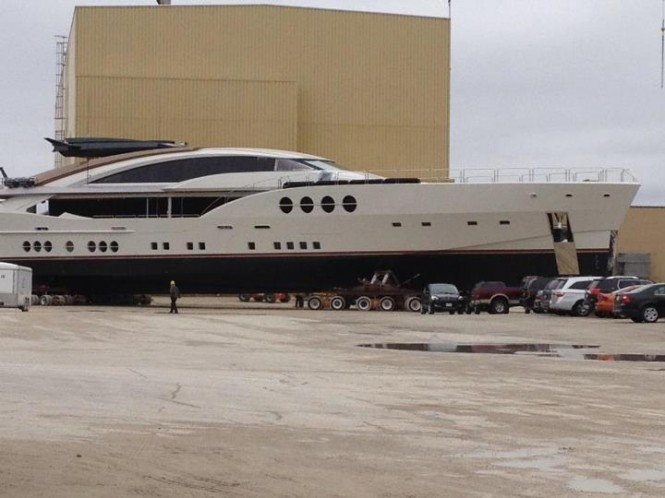 Superyacht Lady M during launch - Image courtesy of DuraShield Marine