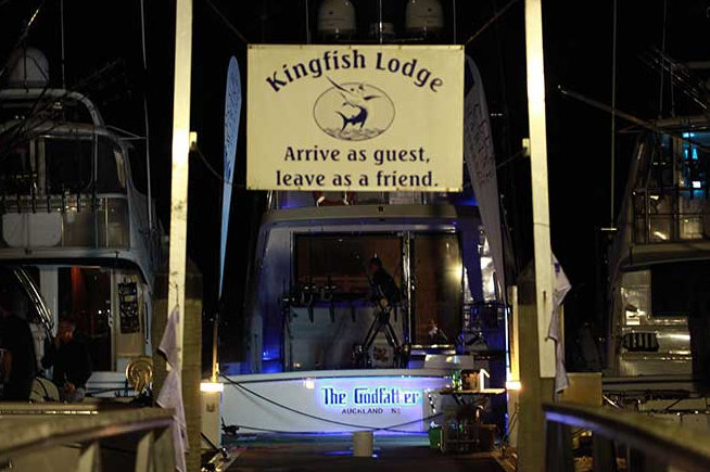 The Godfather Yacht moored at Kingfish Lodge