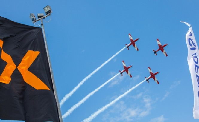 The RAAF Roulettes performed an aerial acrobatics show daily at the Expo