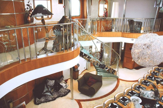 The stairwell - Sherakhan yacht