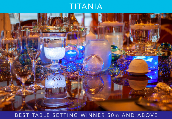The winning table setting aboard luxury charter yacht Titania