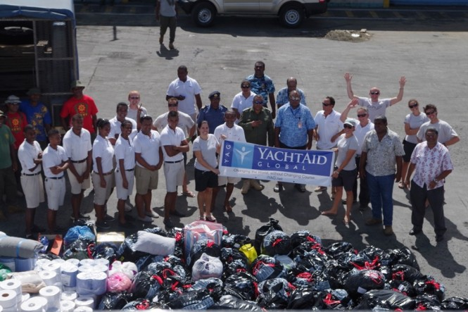 The YachtAid Global Team delivering aid to Fiji after damage/destruction from Cyclone Evan in December 2012 (Photo Courtesy of YachtAid Global)