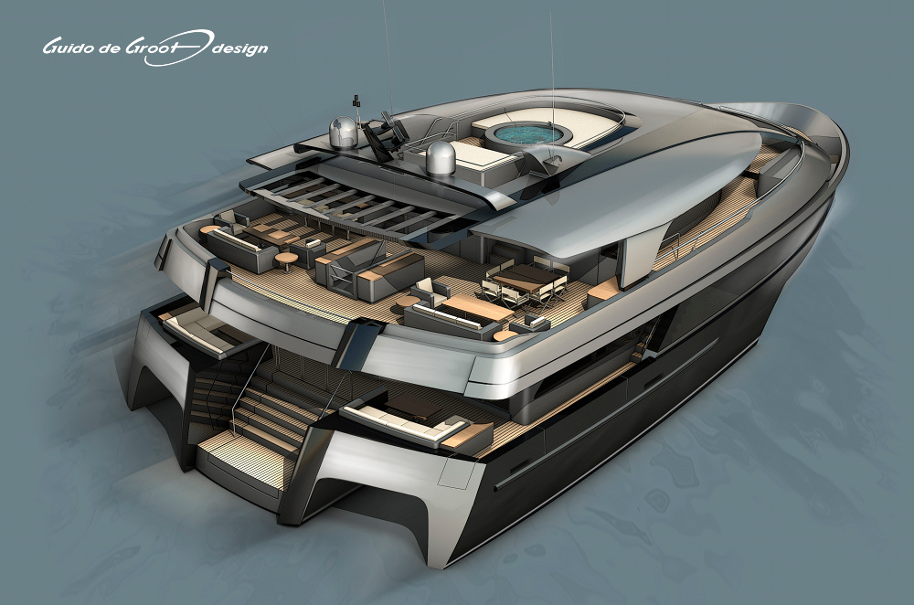 Superyachten concept  34,5m Guido de Groot and Mobimar Trimaran Superyacht Concept ...