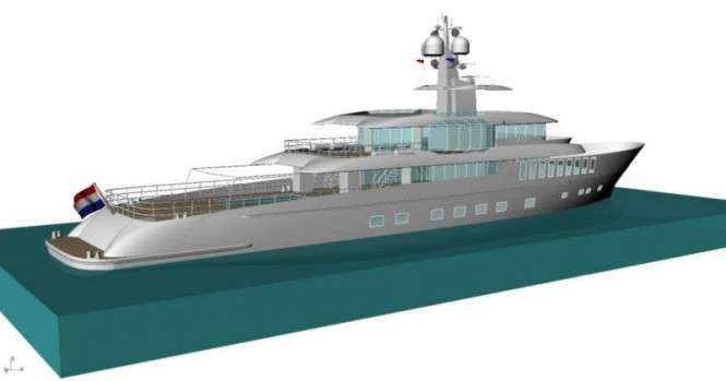 50m motor yacht Project Beach concept - aft view