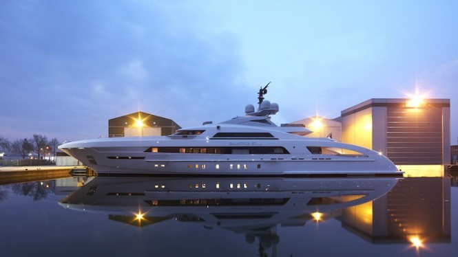 65m Heesen superyacht Galactica Star at launch - Photo credit to Dick Holthuis