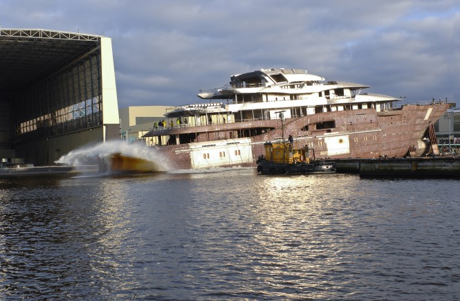 85m Lurssen mega yacht Project Niki sliding down the ways in January 2012