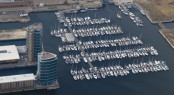 Aerial view of MDL's Chatham Maritime Marina recently expanded by Walcon Marine