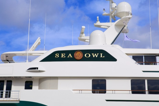 Feadship luxury yacht Sea Owl leaving the shed