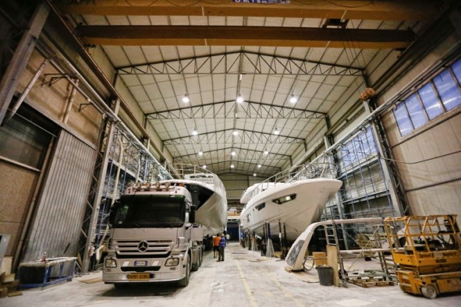 First Azimut 80 Yacht by Azimut Yachts in the shed