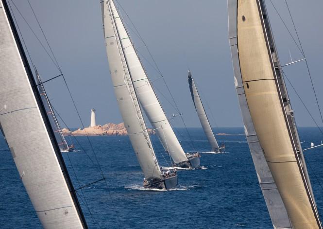 Fleet passing Monaci Island - Loro Piana Superyacht Regatta 2013 © Carlo Borlenghi
