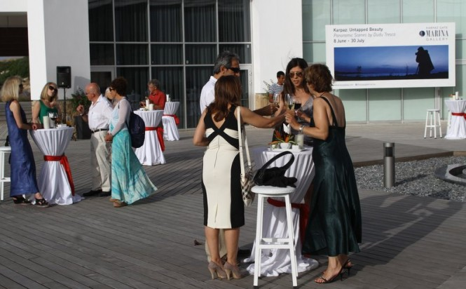 Guests enjoy drinks and canapés before viewing the new photography exhibition 'Karpaz Untapped Beauty'