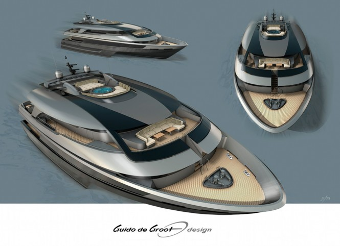 Latest 34,5m Trimaran yacht concept by Guido de Groot and Mobimar