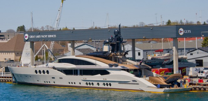 Luxury motor yacht Lady M - aft view (Image courtesy of Palmer Johnson)