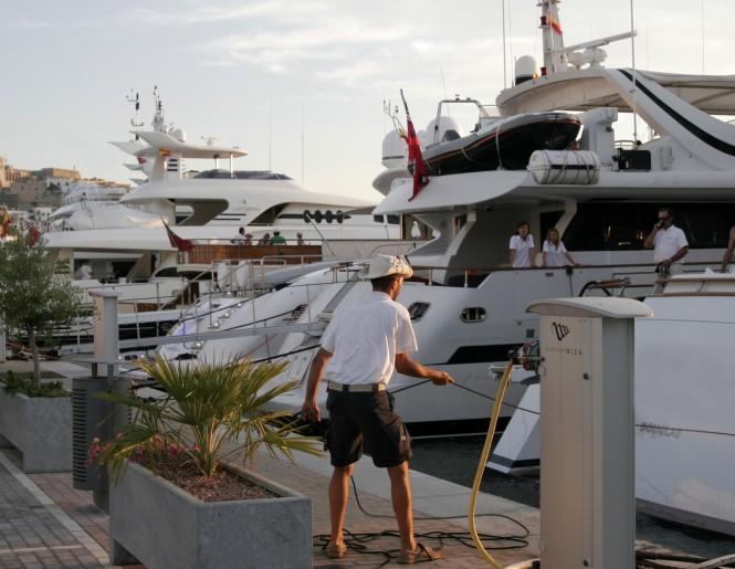 Luxury yachts anchored at Marina Ibiza