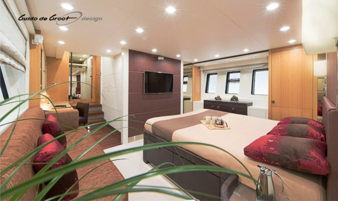Modern interior aboard White Rose and Silver Rose Yachts