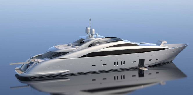 Rendering of new superyacht ISA 140 sold by ISA