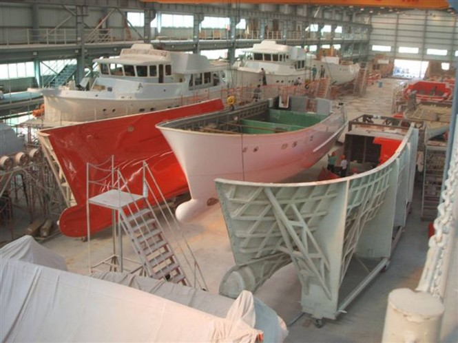Selene Trawler Yachts under construction at Jet-Tern Marine