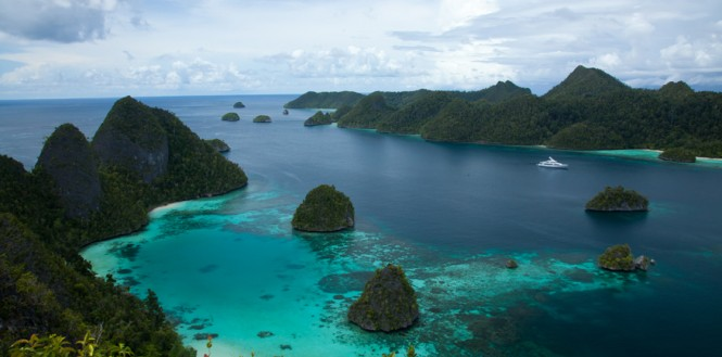 Superyacht in the lovely yacht charter destination - Raja Ampat in Indonesia © Ethan Lee