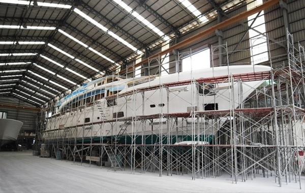The first RP110 yacht hull currently under construction