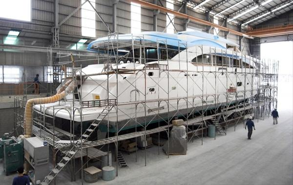 The first RP110 yacht hull in build - aft view