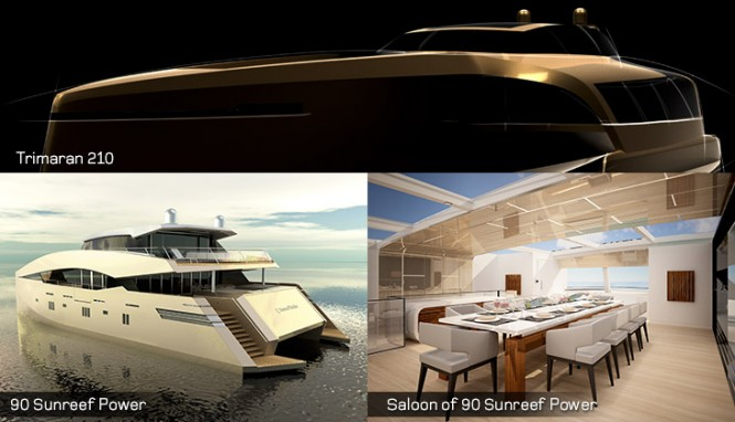 Trimaran 210 Yacht and 90 Sunreef Power Yacht