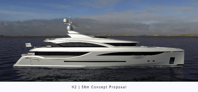 58m superyacht concept proposal by Dorries Maritime and H2 Yacht Design