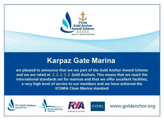 Karpaz Gate Marina is rated at 5 Gold Anchors
