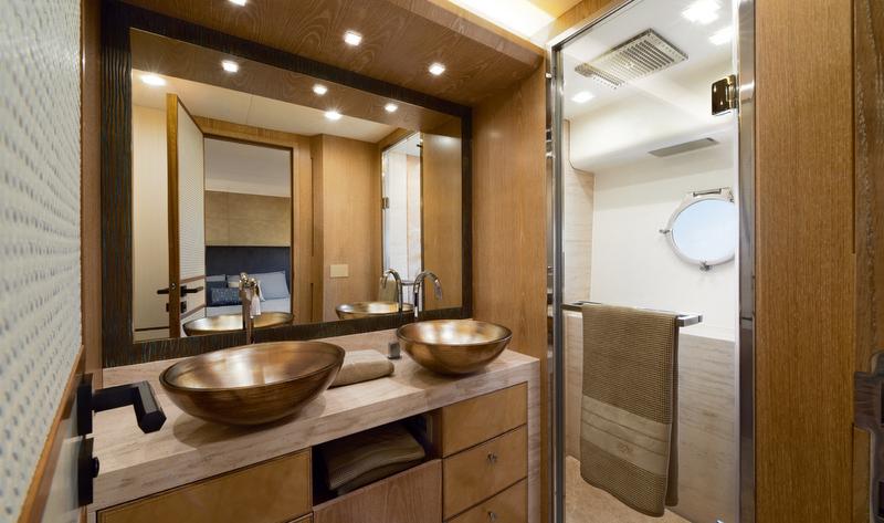 Luxury yacht mcy 86 vip cabin en suite bathroom for Luxury en suite bathroom designs
