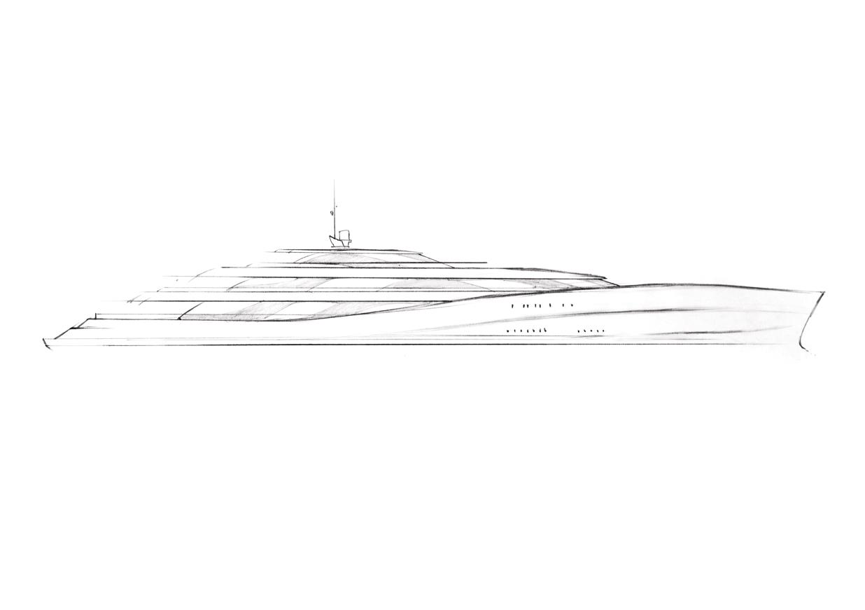 Luxury Yacht P0513 Concept Side Frame Sketch
