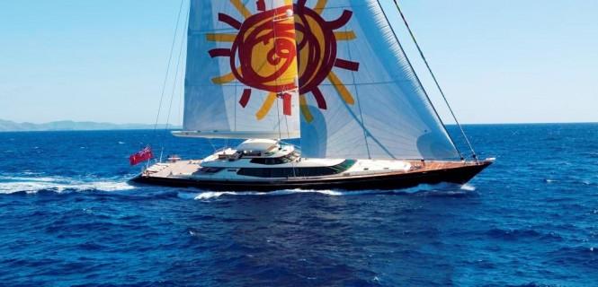 Luxury yacht TIARA under sail