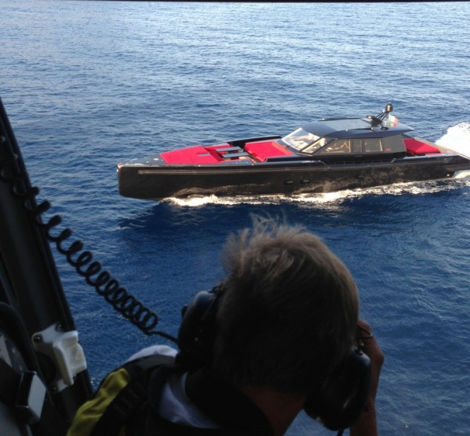 Maori 78 superyacht tender at full speed