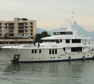 New photos and video of Nordhavn 120 superyacht AURORA arriving in Hong Kong